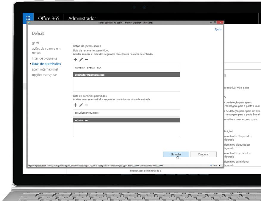 Um tablet a mostrar a página onde pode editar a política anti-spam na Consola do Administrador do Office 365 com um remetente e um domínio permitidos