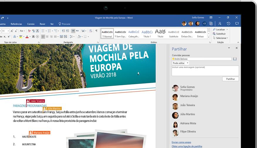 Funcionalidade Partilhar do Word a ser apresentada num portátil