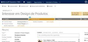 Uma imagem de uma página de oportunidade de vendas no Microsoft Dynamics CRM Online.