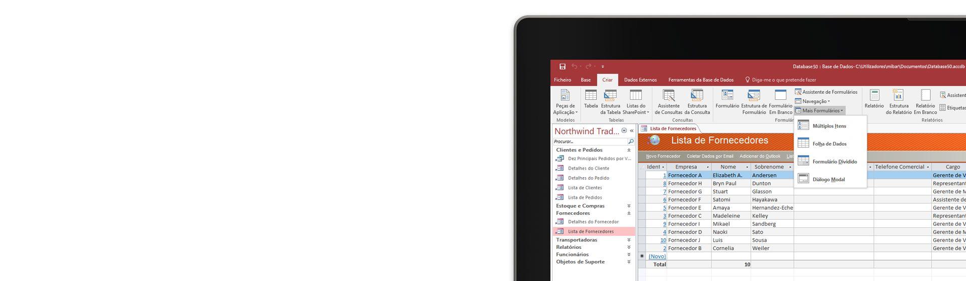 O canto do ecrã de um computador a mostrar uma lista de fornecedores numa base de dados do Microsoft Access.