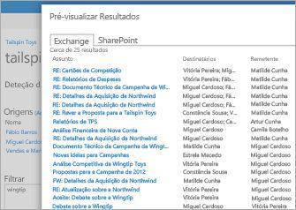 Um grande plano de uma lista dos resultados de pré-visualização do Arquivo de Exchange Online.