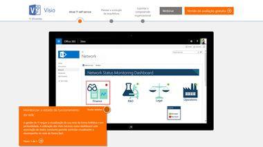 Ecrã de Versão de Teste do Visio. Faça uma visita guiada do Visio Pro para Office 365>