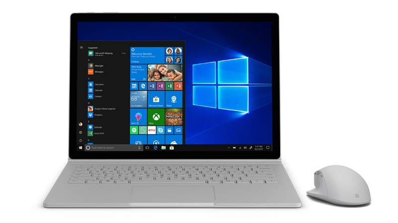 Captura de ecrã do Windows 10 no Surface.