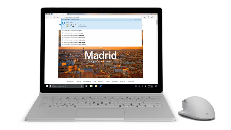 Captura de ecrã do Microsoft edge no Surface.