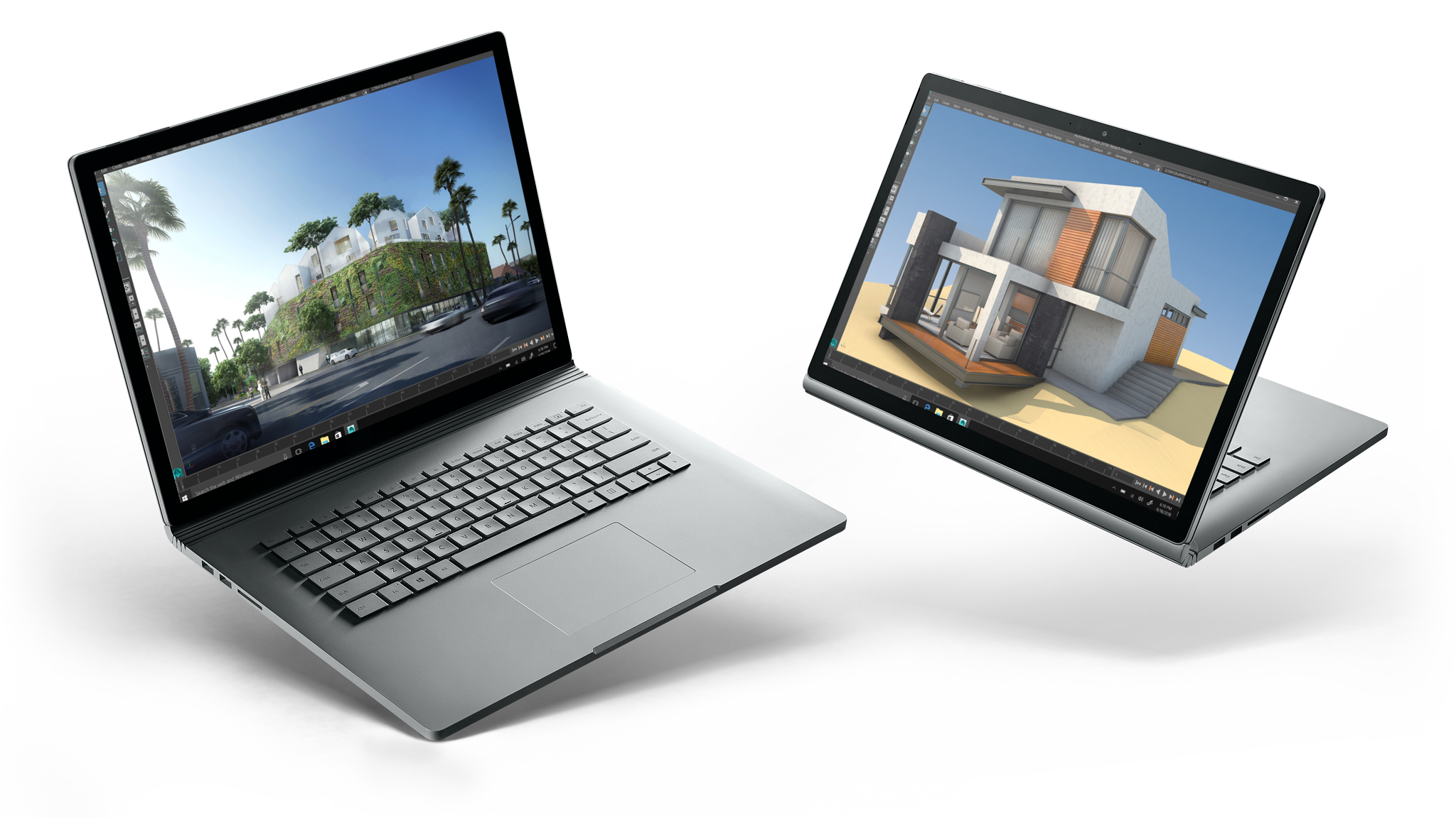 "Modelos Surface Book 2 de 13,5"" e Surface Book 2 de 15"" lado a lado"