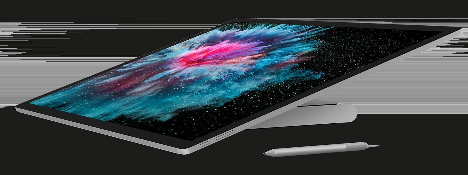 Vista lateral do Surface Studio 2 em Modo de estúdio com uma Caneta para Surface
