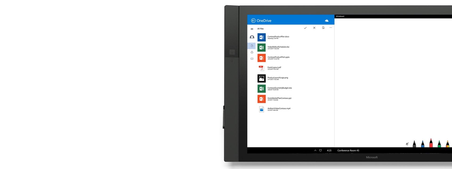O OneDrive em utilização no Surface Hub.