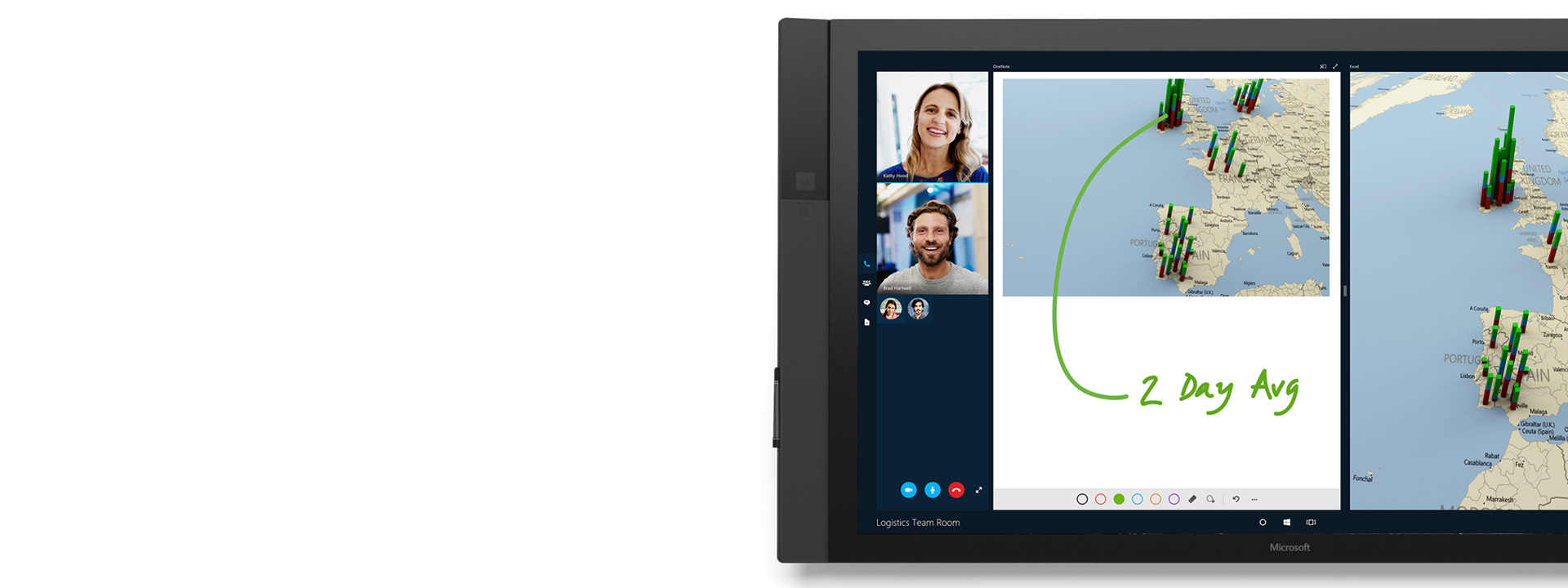 O Skype para Empresas em utilização no Surface Hub.
