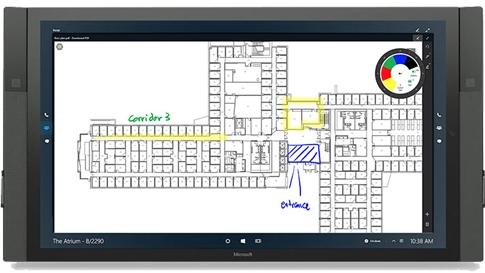 O Drawboard em utilização no Surface Hub.