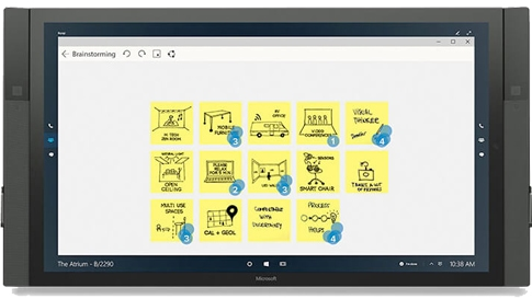 O Mural em utilização no Surface Hub.