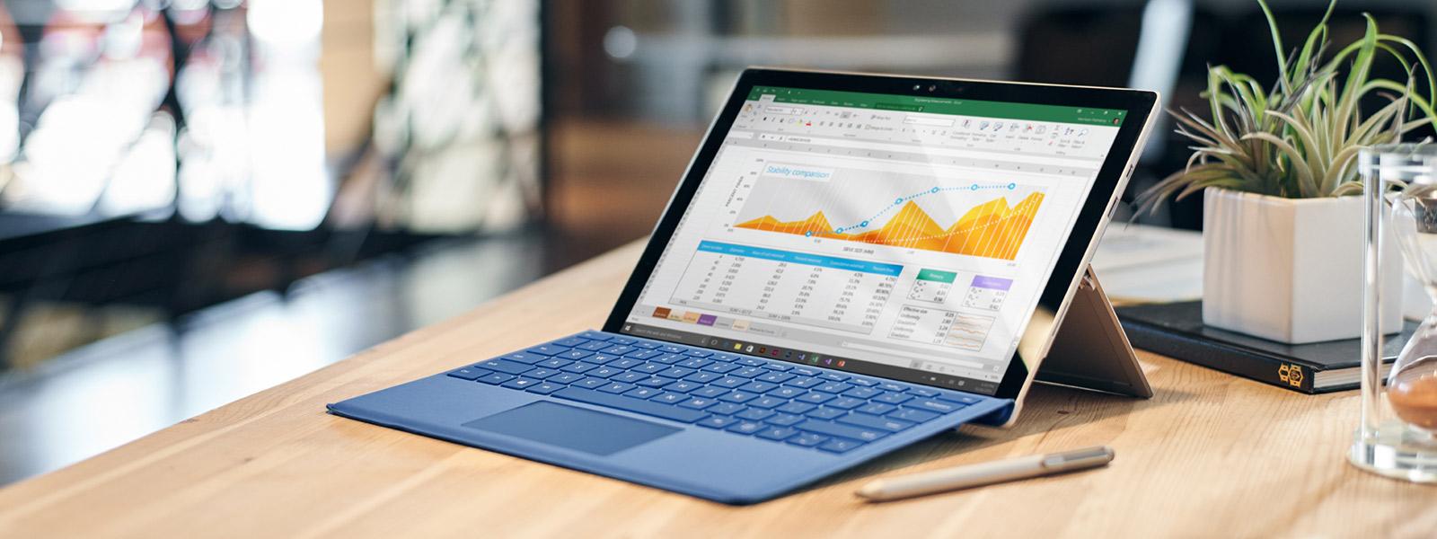Surface Pro 4 sobre uma mesa.