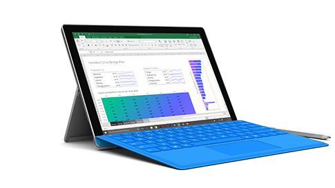 Surface Pro 4 com o Microsoft Excel no ecrã.