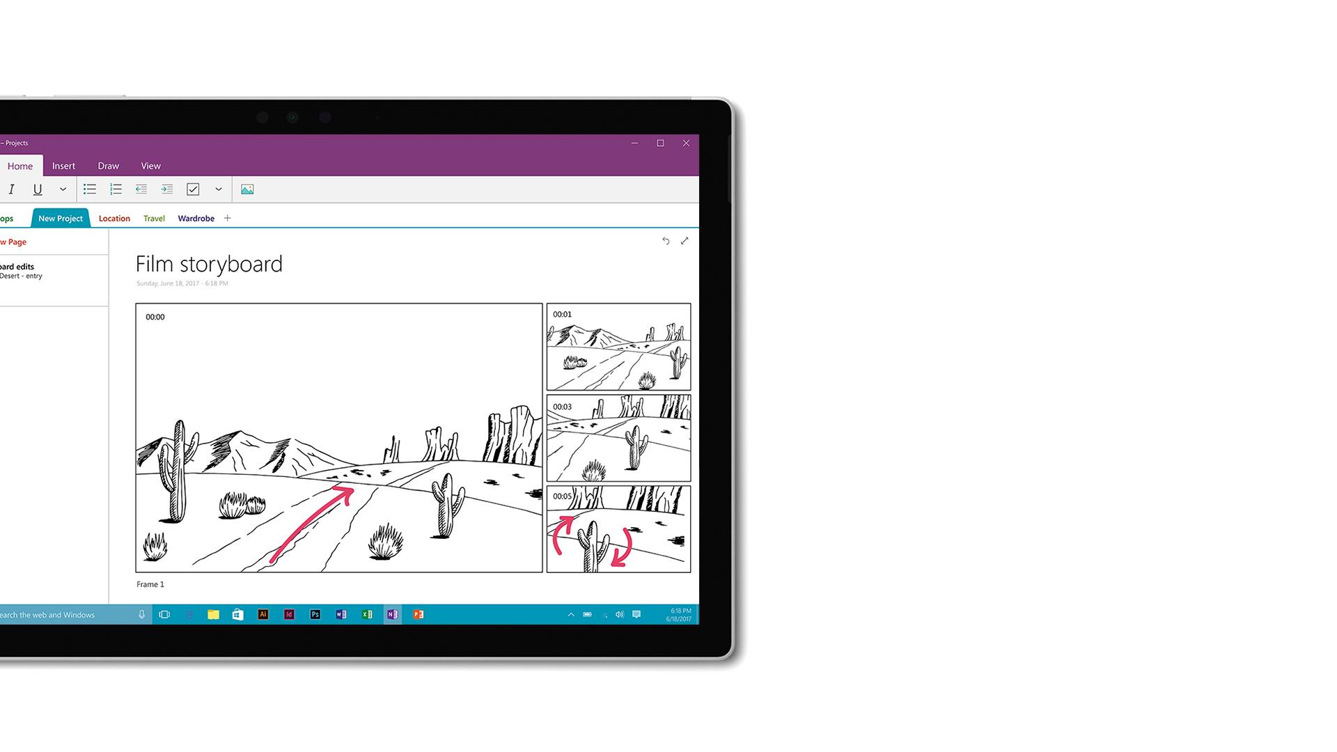 Captura de ecrã do OneNote no Surface.