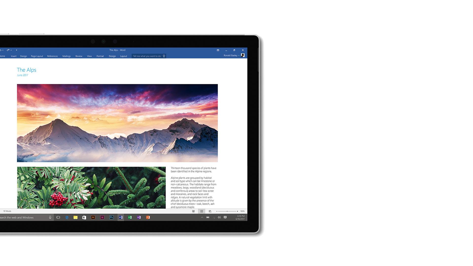 Captura de ecrã do Word no Surface.