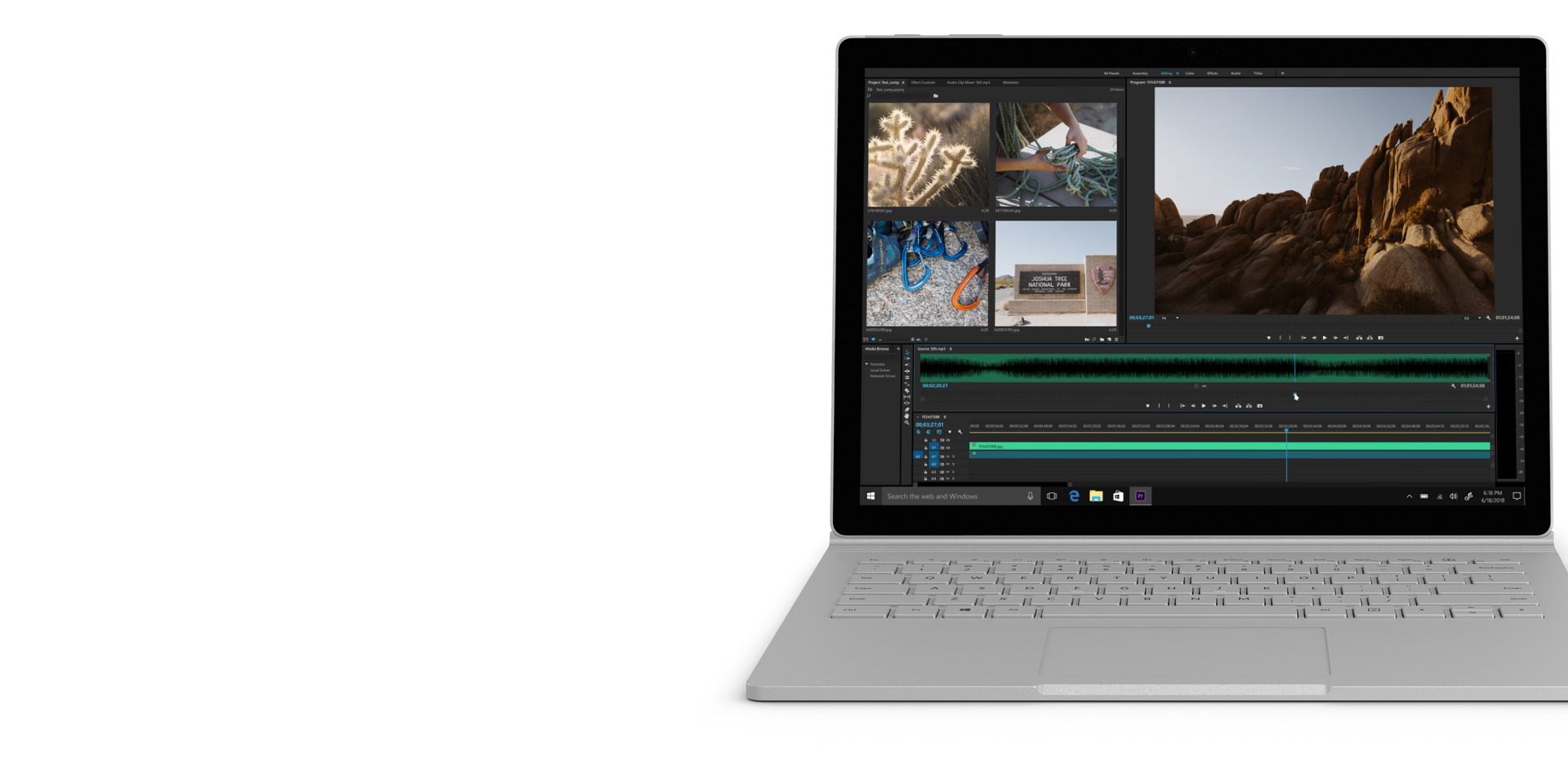 Adobe Premiere Pro no ecrã do Surface Book 2