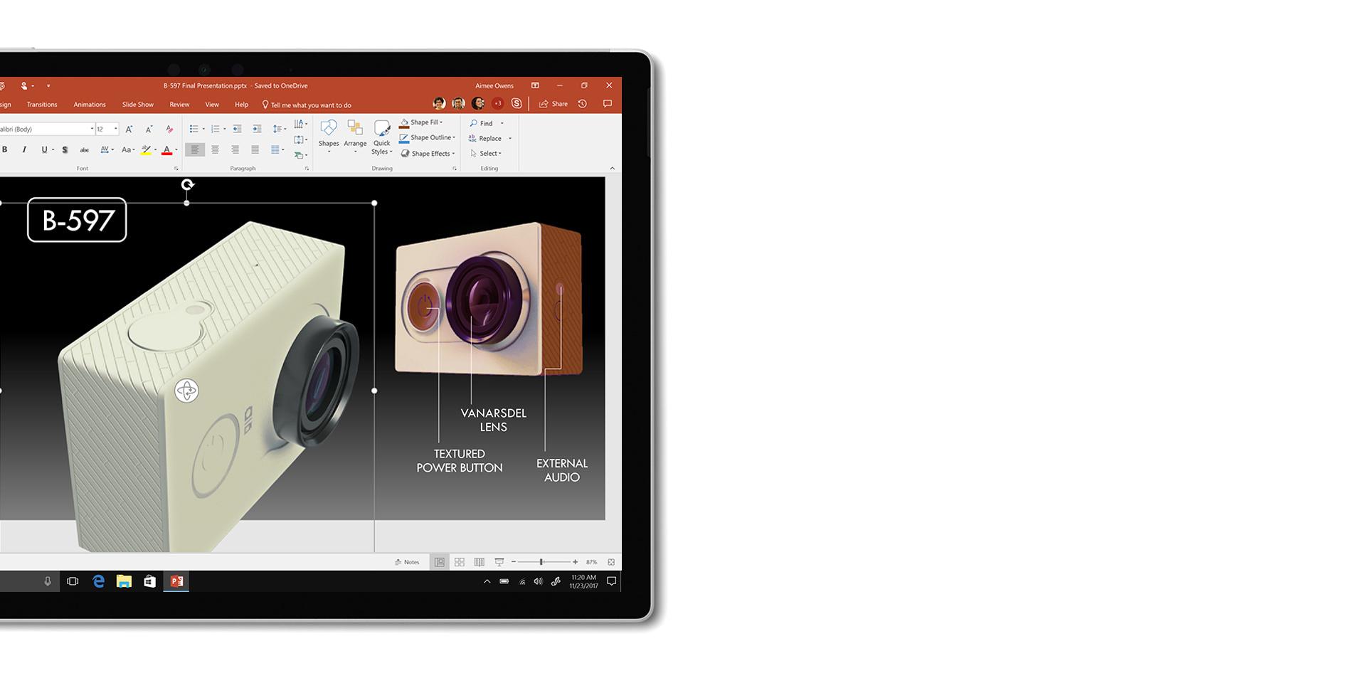 Aplicação PowerPoint mostrada no ecrã do Surface Book 2, separado do teclado.