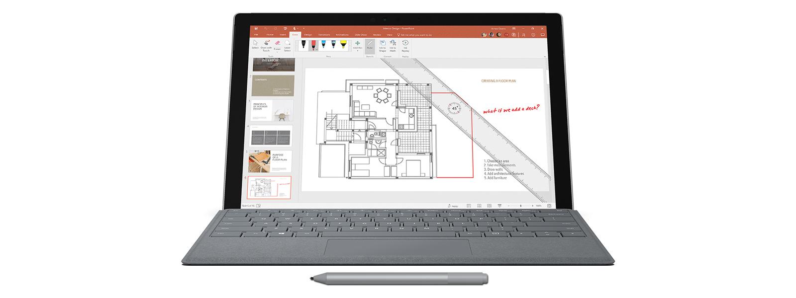 Captura de ecrã de uma planta arquitetónica com a Caneta para Surface, anotações e a régua no ecrã