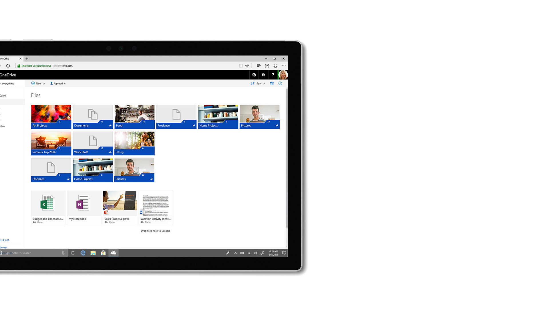 Imagem da interface de utilizador do Microsoft OneDrive