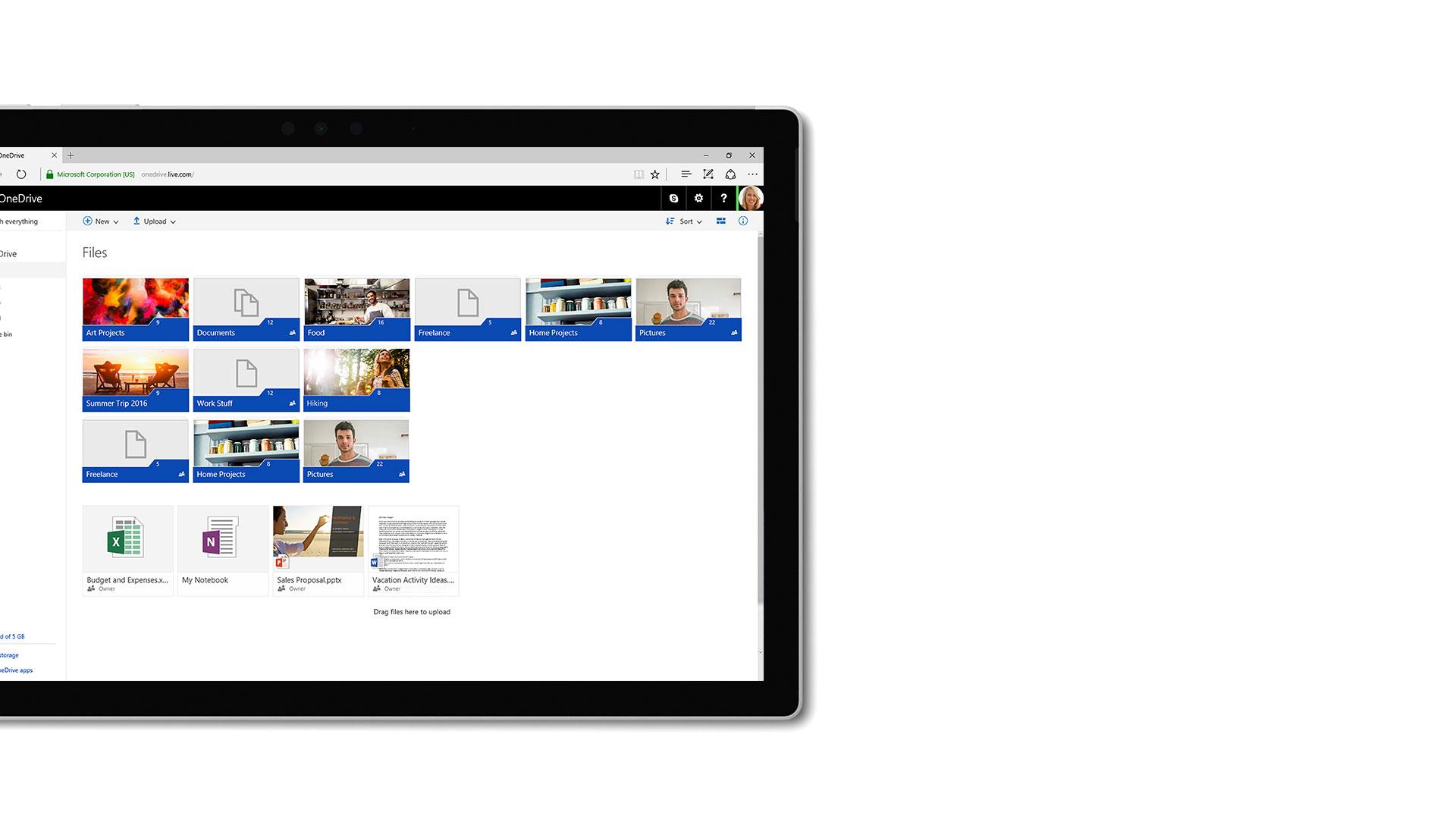 Imagem da interface de utilizador do Microsoft OneDrive