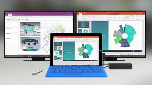 Vários dispositivos Surface e acessórios