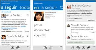 Três capturas de ecrã do newsfeed do SharePoint Online em dispositivos móveis diferentes