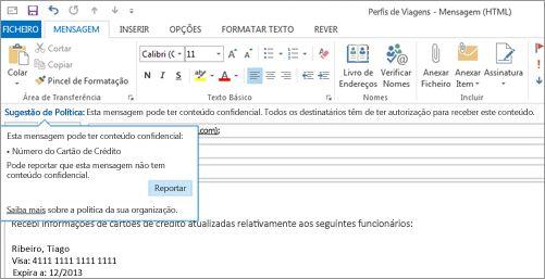 Grande plano de uma Sugestão de Política num e-mail, para ajudar a evitar o envio de informações confidenciais por parte de utilizadores.