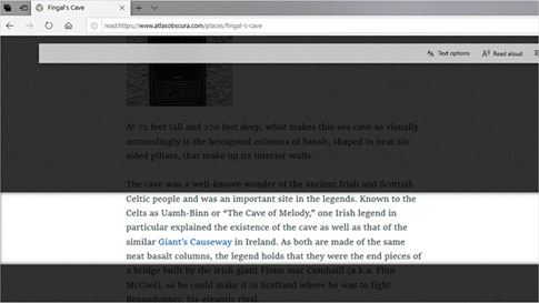 Browserul Microsoft Edge afișând doar câteva linii de text pe o pagină cu Focalizare pe linie