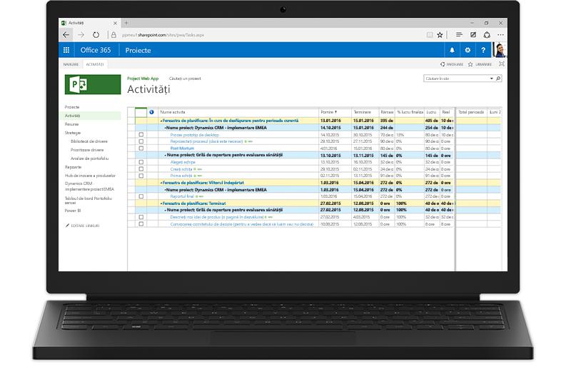 Un laptop care afișează pe ecran o listă de activități Project în Office 365.