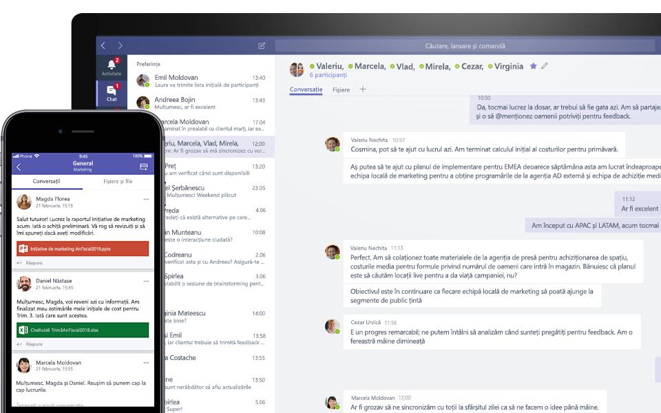 Conversație Teams pe un dispozitiv mobil și desktop