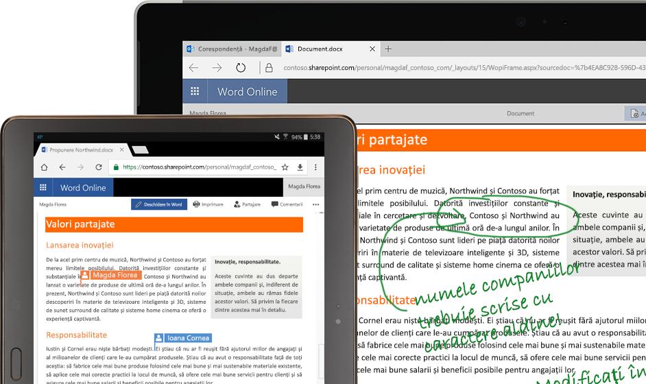 un laptop și o tabletă care rulează Word online