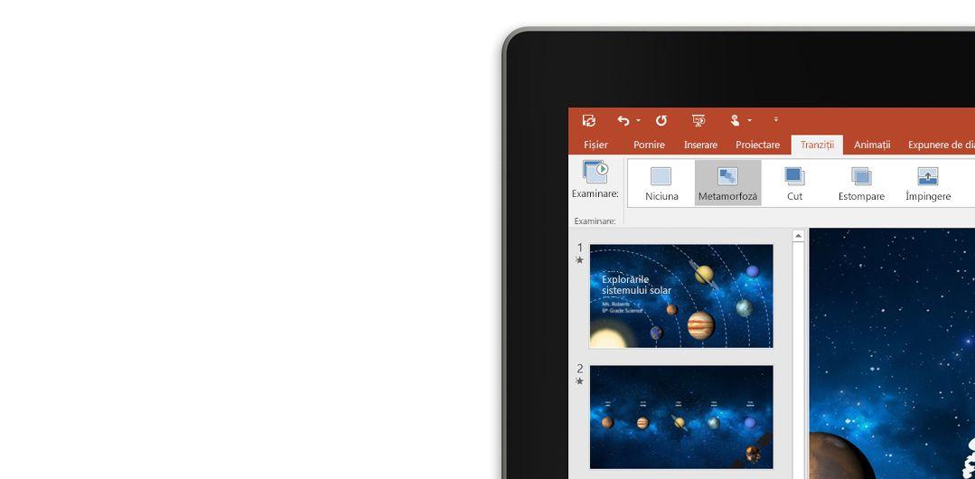 O tabletă ce afișează caracteristica Metamorfoză dintr-un diapozitiv de prezentare PowerPoint.