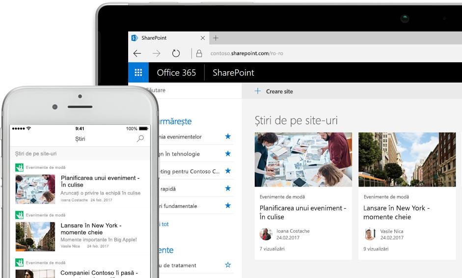 SharePoint cu știri pe un smartphone și cu știri și fișe de site pe un PC tabletă