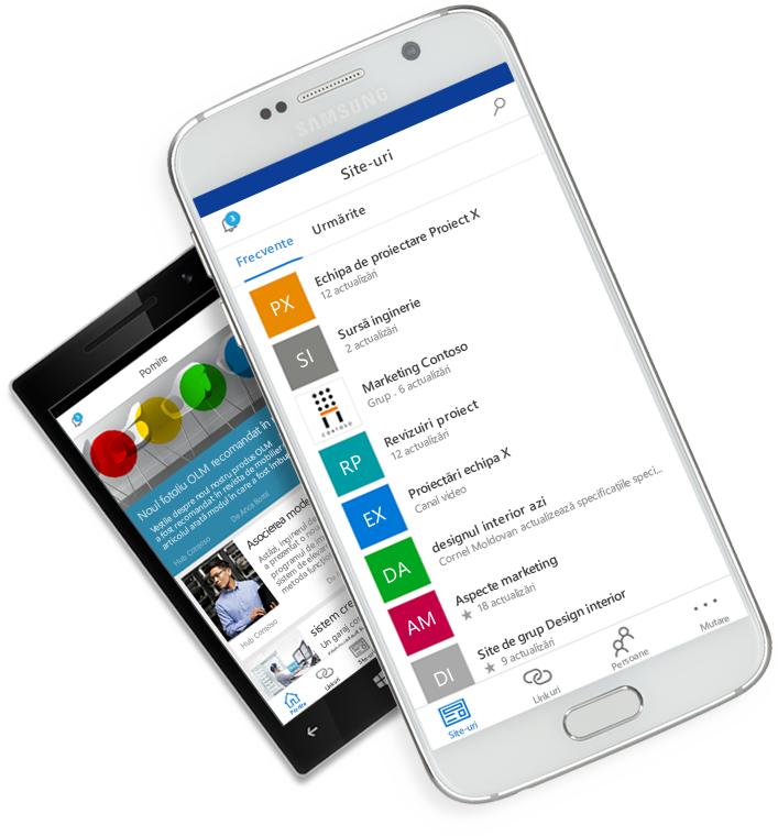 Aplicația SharePoint afișată pe dispozitive mobile