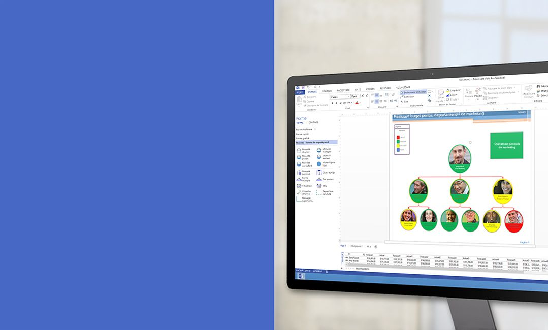 Un monitor de desktop care afișează o diagramă în Visio 2013.