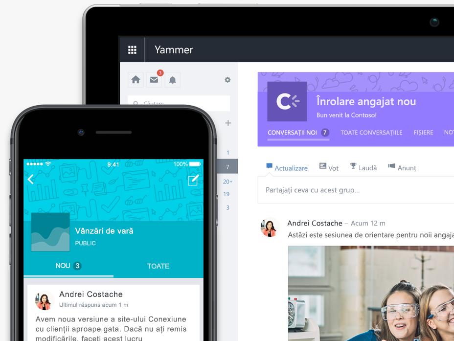 Un telefon și o tabletă afișând conversații în grupuri Yammer - este nevoie de capturi de ecran actualizate cu cea mai nouă interfață de utilizator (pot fi aceleași conversații)