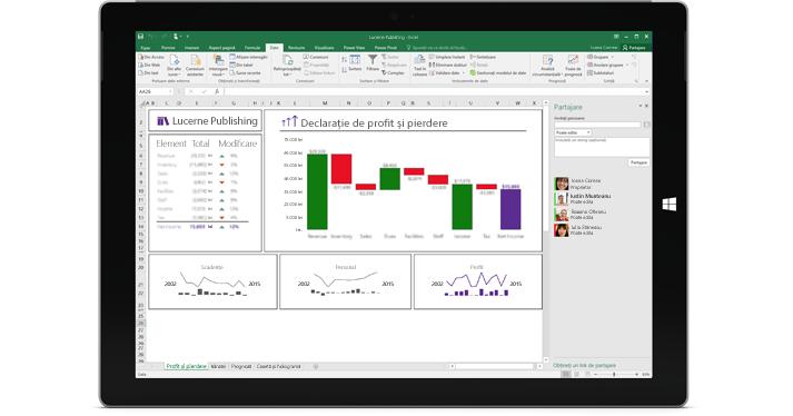 Pagina Partajare din Excel, cu opțiunea Invitați persoane selectată.