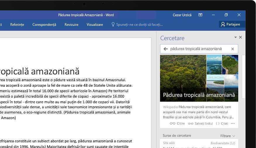 Un laptop afișând un document Word și un prim-plan cu caracteristica Cercetare, cu un articol despre pădurea tropicală amazoniană