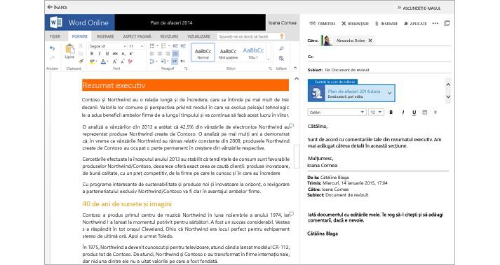 Un mesaj de e-mail afișat lângă un panou de previzualizare a atașărilor de documente utilizând Word Online