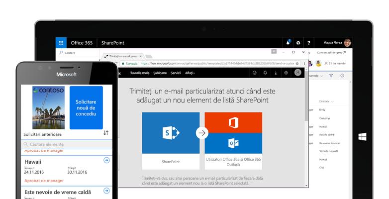o solicitare de vacanță pe un smartphone, activată de Microsoft Flow și Microsoft Flow rulând pe un PC tabletă