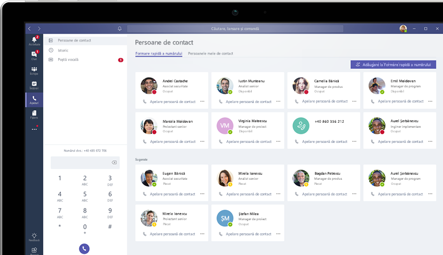 Apelarea în Microsoft Teams, afișată pe un computer desktop