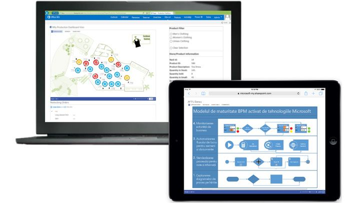 Un laptop și o tabletă afișând diagrame în Visio