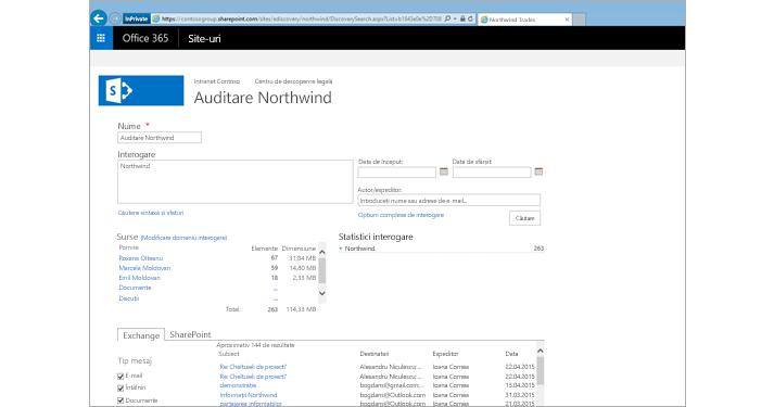 Un prim-plan cu o listă de rezultate preliminare din Arhivarea Exchange Online.