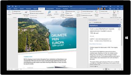 Ecran de tabletă afișând Cercetare Word utilizat într-un document despre excursii europene. Aflați despre crearea documentelor cu instrumentele Office încorporate