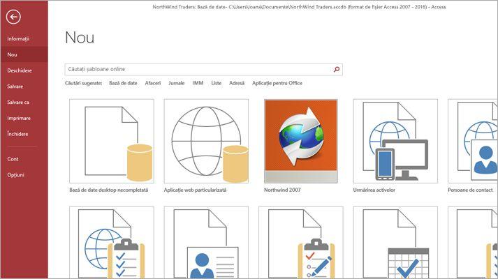 Ecranul Bază de date nouă în Microsoft Access