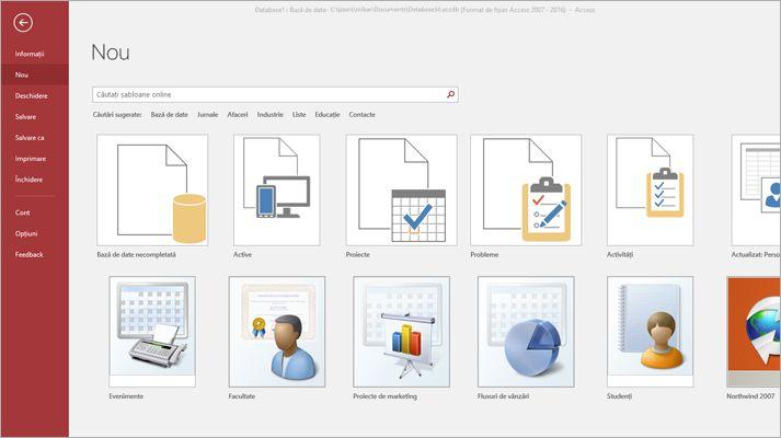 Ecranul bazei de date noi din Microsoft Access