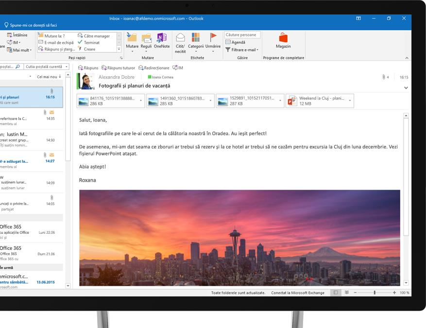 Un mesaj de e-mail Office 365 care afișează o imagine încorporată cu orizontul orașului Seattle