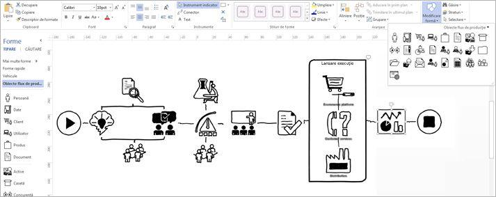 Detaliu cu o diagramă Visio care afișează panglica și instrumentele pentru a particulariza proiectarea.