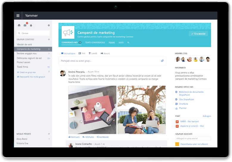 O tabletă Surface afișează o conversație Yammer - este nevoie de capturi de ecran actualizate cu cea mai nouă interfață de utilizator (pot fi aceleași conversații)