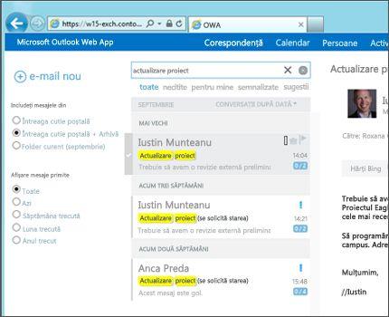 Prim plan cu inboxul unui utilizator din Outlook Web App.