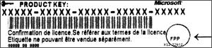 Cheia de produs pentru versiunea în franceză